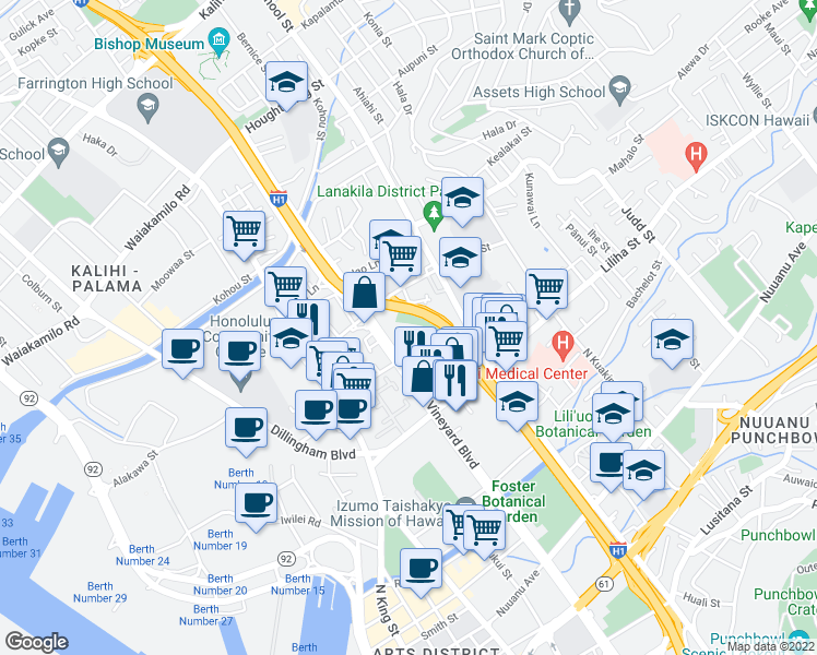 map of restaurants, bars, coffee shops, grocery stores, and more near 1428 Pua Lane in Honolulu