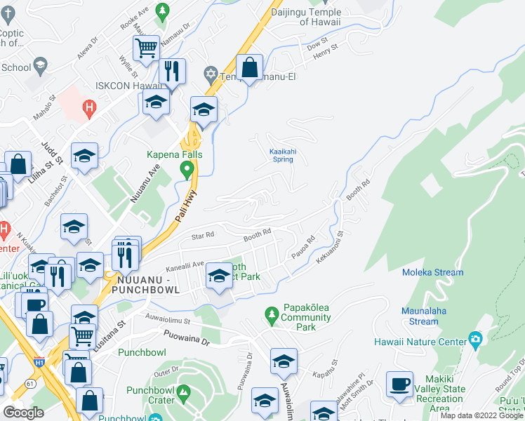 map of restaurants, bars, coffee shops, grocery stores, and more near 2535 Pacific Heights Road in Honolulu