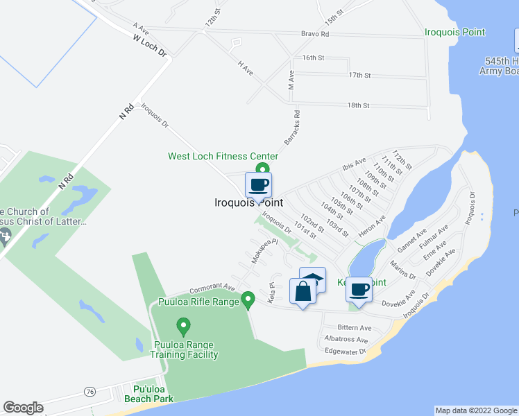 map of restaurants, bars, coffee shops, grocery stores, and more near 5100 Iroquois Avenue in Ewa Beach