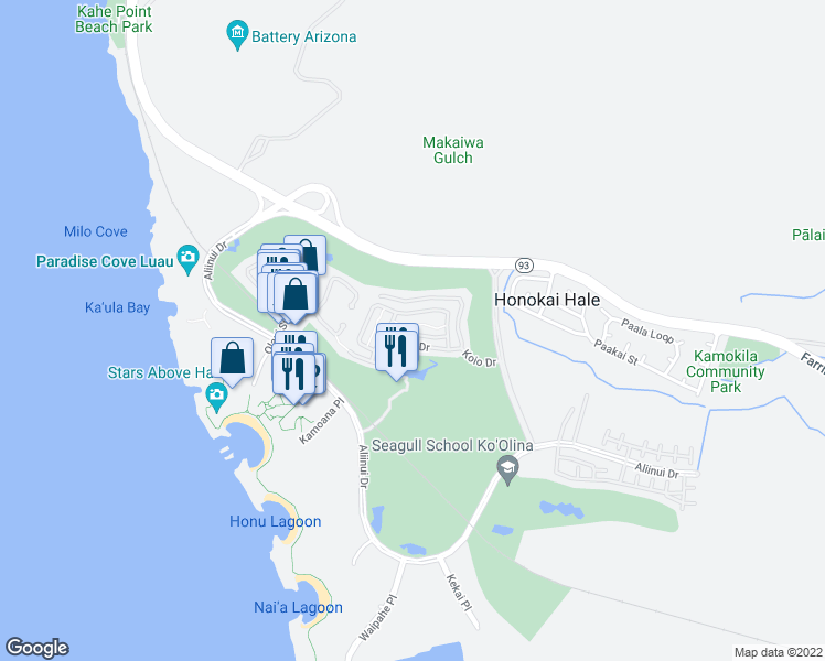 map of restaurants, bars, coffee shops, grocery stores, and more near 92-1069 Koio Drive in Kapolei
