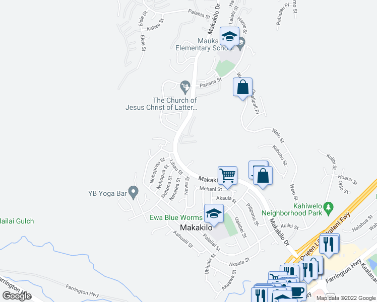 map of restaurants, bars, coffee shops, grocery stores, and more near 92-779 Makakilo Drive in Kapolei