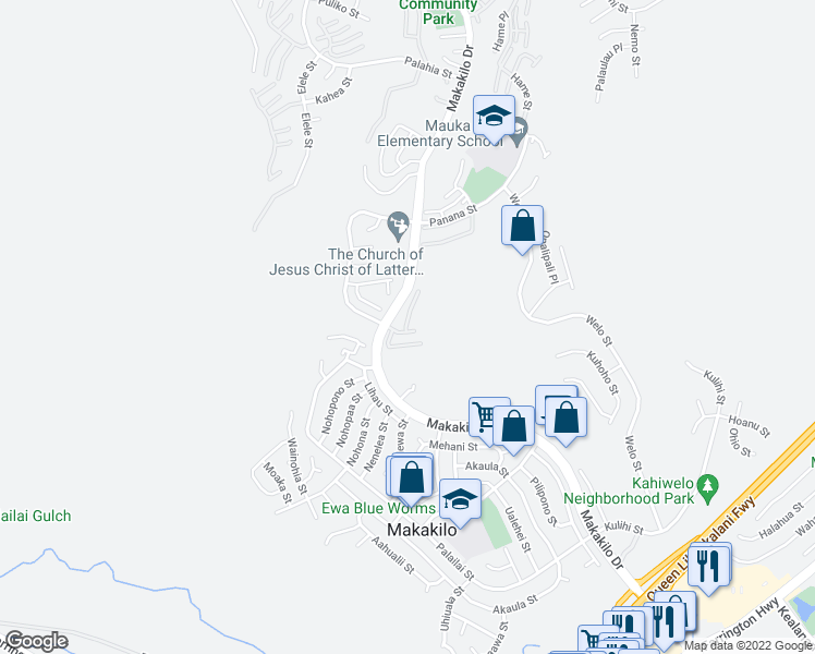 map of restaurants, bars, coffee shops, grocery stores, and more near 92-831 Makakilo Drive in Kapolei