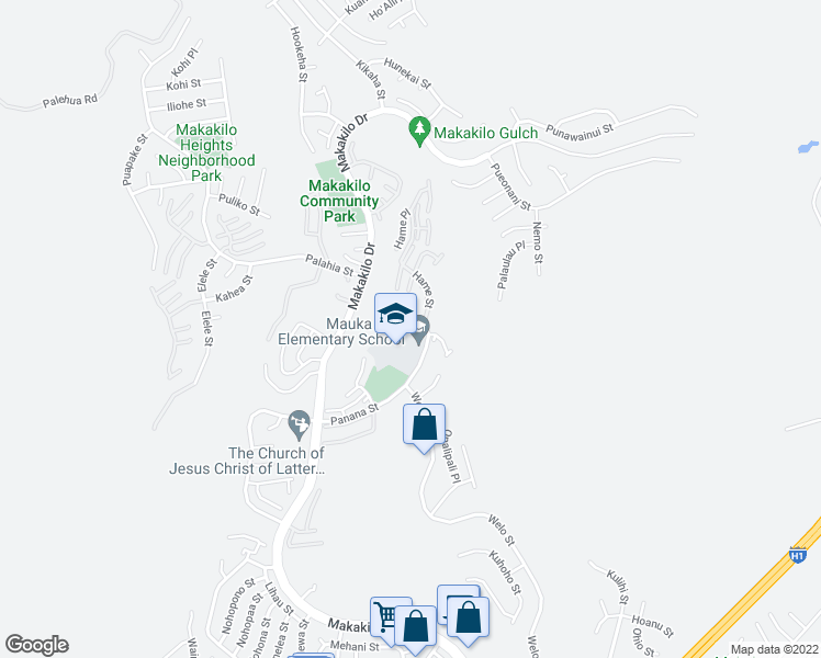 map of restaurants, bars, coffee shops, grocery stores, and more near 92-1340 Panana Street in Kapolei