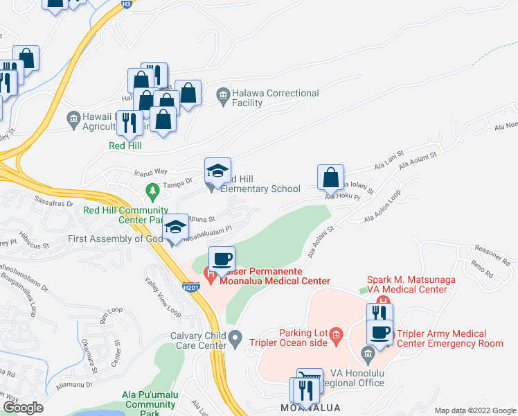 map of restaurants, bars, coffee shops, grocery stores, and more near 1380A Moanalualani Place in Honolulu