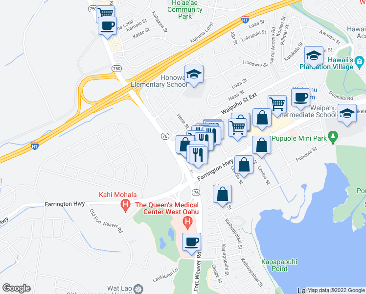 map of restaurants, bars, coffee shops, grocery stores, and more near 94-10 Leolua Street in Waipahu
