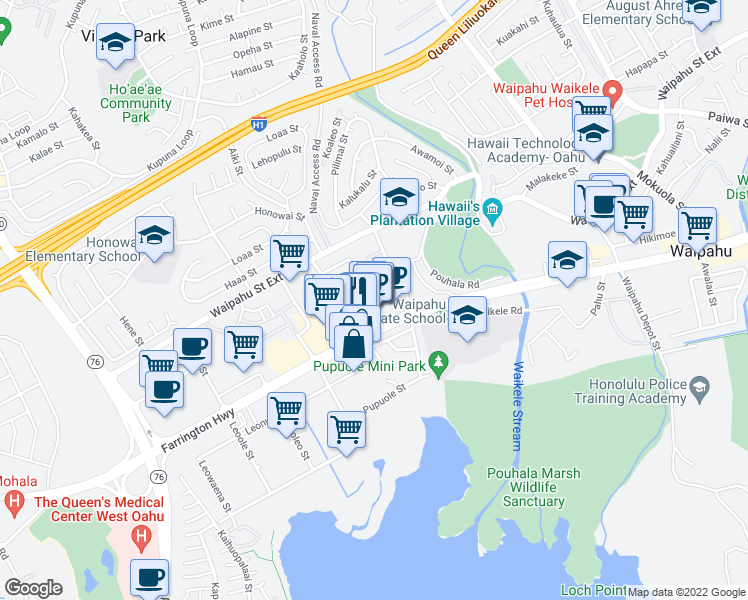 map of restaurants, bars, coffee shops, grocery stores, and more near 94-221 Pupukui Street in Waipahu