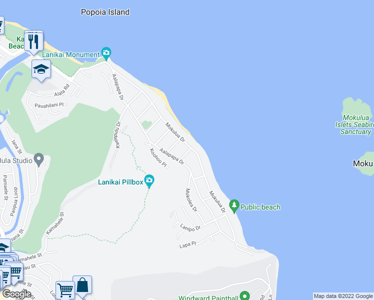 map of restaurants, bars, coffee shops, grocery stores, and more near 1133 Mokulua Drive in Kailua