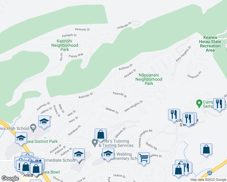 map of restaurants, bars, coffee shops, grocery stores, and more near 99-12 Kaamilo Street in Aiea