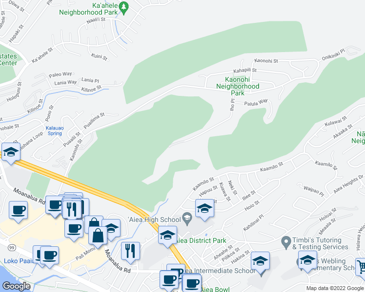 map of restaurants, bars, coffee shops, grocery stores, and more near 98-711 Iho Place in Aiea