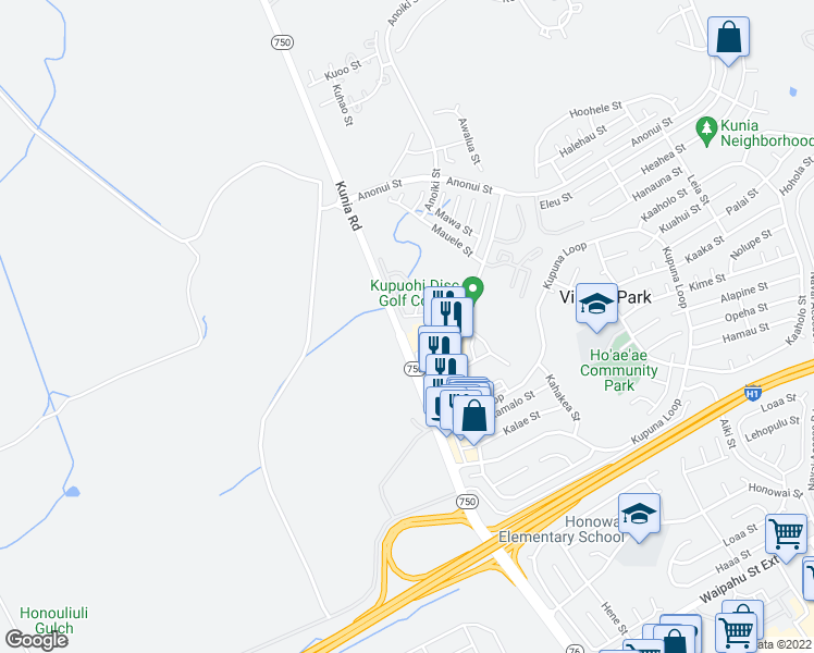 map of restaurants, bars, coffee shops, grocery stores, and more near 94-405 Kunia Road in Waipahu