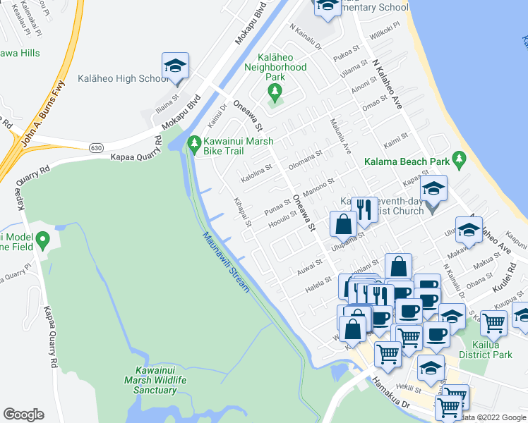 map of restaurants, bars, coffee shops, grocery stores, and more near 610 Punaa Street in Kailua