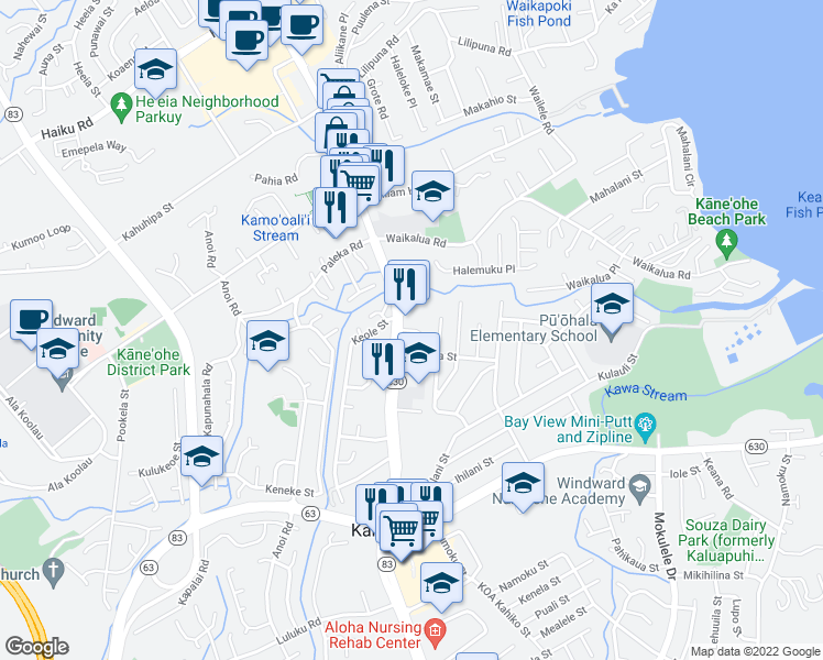 map of restaurants, bars, coffee shops, grocery stores, and more near 45-457 Meli Place in Kaneohe
