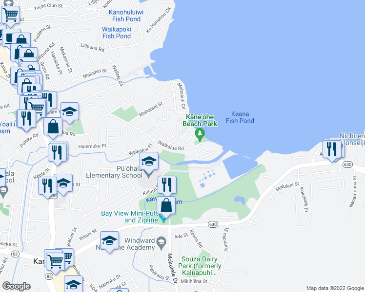 map of restaurants, bars, coffee shops, grocery stores, and more near 4545 Waikalua Road in Kaneohe