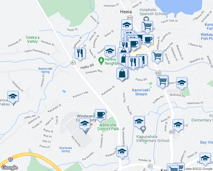 map of restaurants, bars, coffee shops, grocery stores, and more near 46-269 Kahuhipa Street in Kaneohe