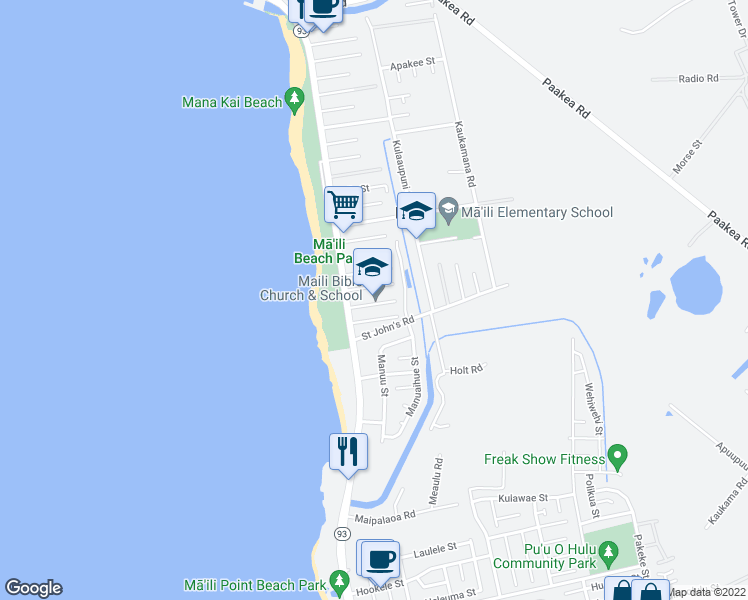 map of restaurants, bars, coffee shops, grocery stores, and more near 87-112 Gilipake Street in Waianae