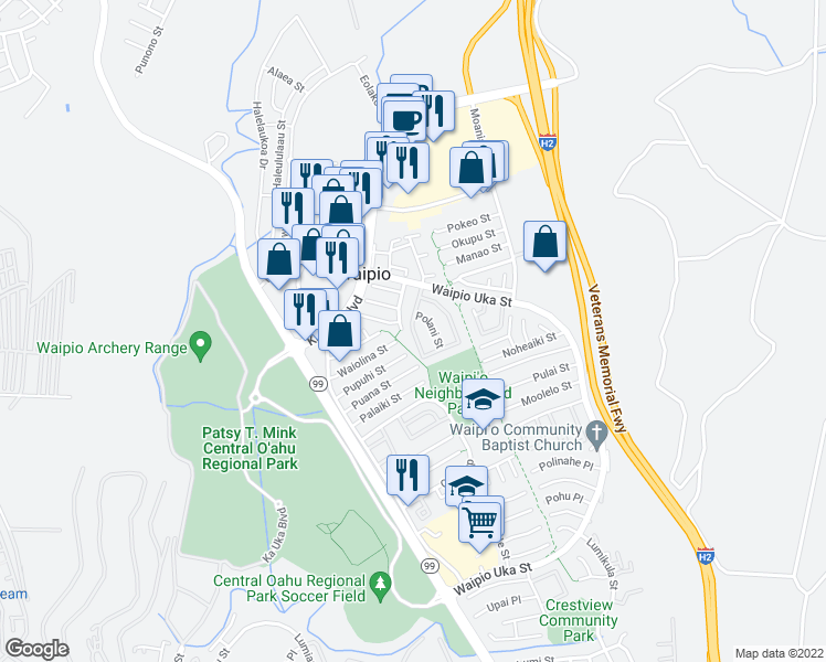 map of restaurants, bars, coffee shops, grocery stores, and more near 20 Kulewa Loop in Waipahu