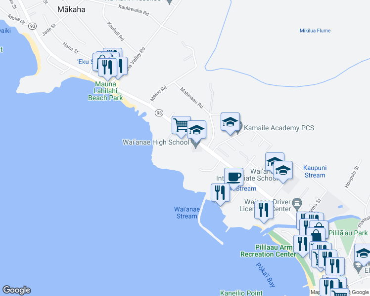 map of restaurants, bars, coffee shops, grocery stores, and more near 85-251 Farrington Highway in Waianae