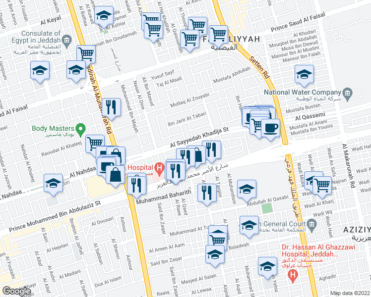 map of restaurants, bars, coffee shops, grocery stores, and more near 3374 Nawfal Ibn Khuwaylid in Jeddah