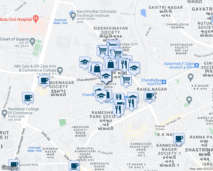 map of restaurants, bars, coffee shops, grocery stores, and more near in Ahmedabad