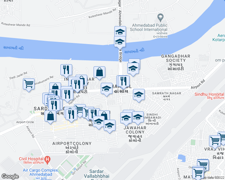 map of restaurants, bars, coffee shops, grocery stores, and more near Airport Road in Ahmedabad
