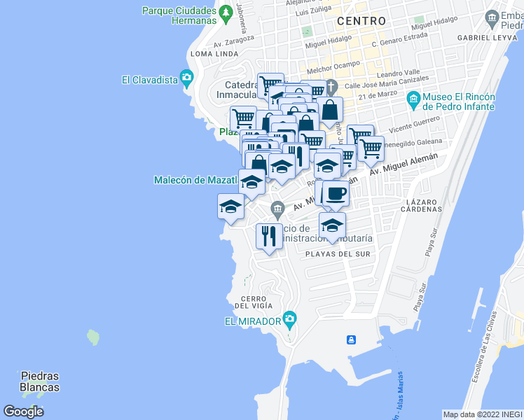 map of restaurants, bars, coffee shops, grocery stores, and more near 7 Manuel Bonilla in Mazatlán