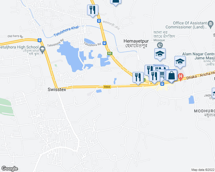 map of restaurants, bars, coffee shops, grocery stores, and more near Savar - Manikganj Highway in Hemayetpur