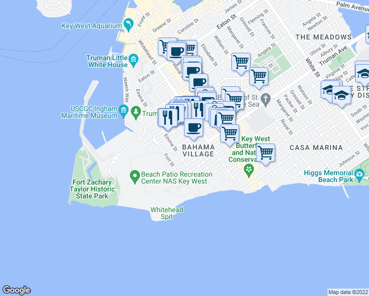 map of restaurants, bars, coffee shops, grocery stores, and more near 3 Hutchinson Lane in Key West