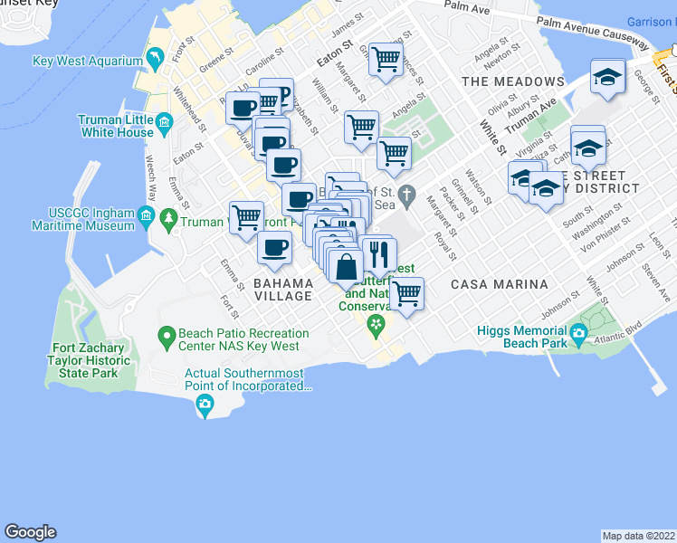 map of restaurants, bars, coffee shops, grocery stores, and more near 1075 Duval Street in Key West