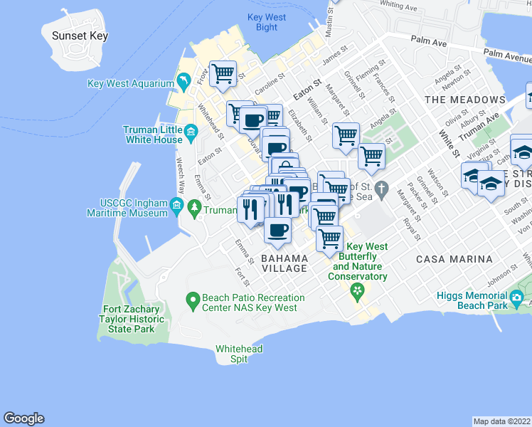 map of restaurants, bars, coffee shops, grocery stores, and more near 308 Petronia St in Key West