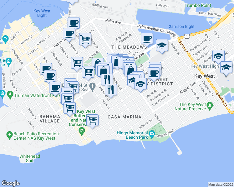 map of restaurants, bars, coffee shops, grocery stores, and more near 1200 Grinnell Street in Key West