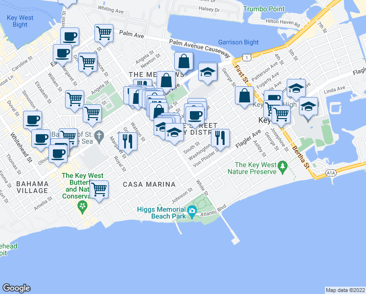 map of restaurants, bars, coffee shops, grocery stores, and more near 1214 Seminary Street in Key West