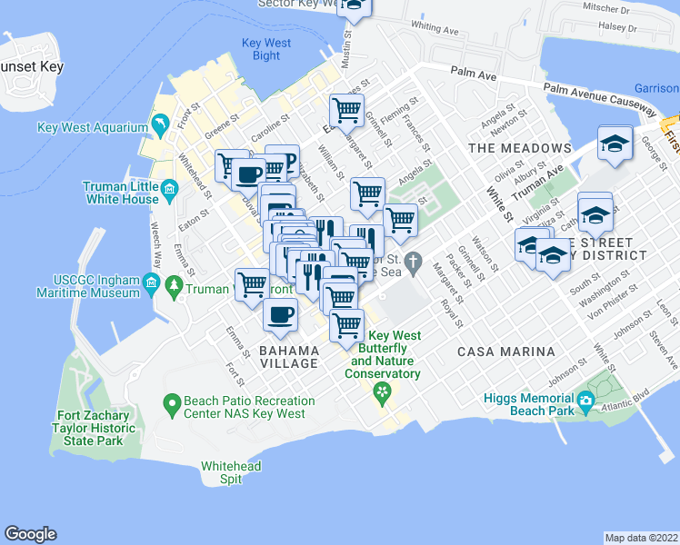 map of restaurants, bars, coffee shops, grocery stores, and more near 817 Simonton Street in Key West