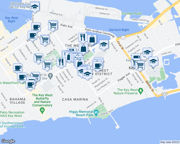 map of restaurants, bars, coffee shops, grocery stores, and more near 1318 Duncan Street in Key West