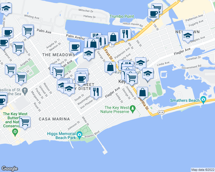 map of restaurants, bars, coffee shops, grocery stores, and more near 1612 Washington Street in Key West