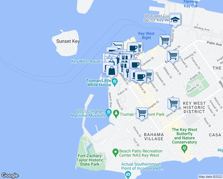 map of restaurants, bars, coffee shops, grocery stores, and more near 115 Front Street in Key West