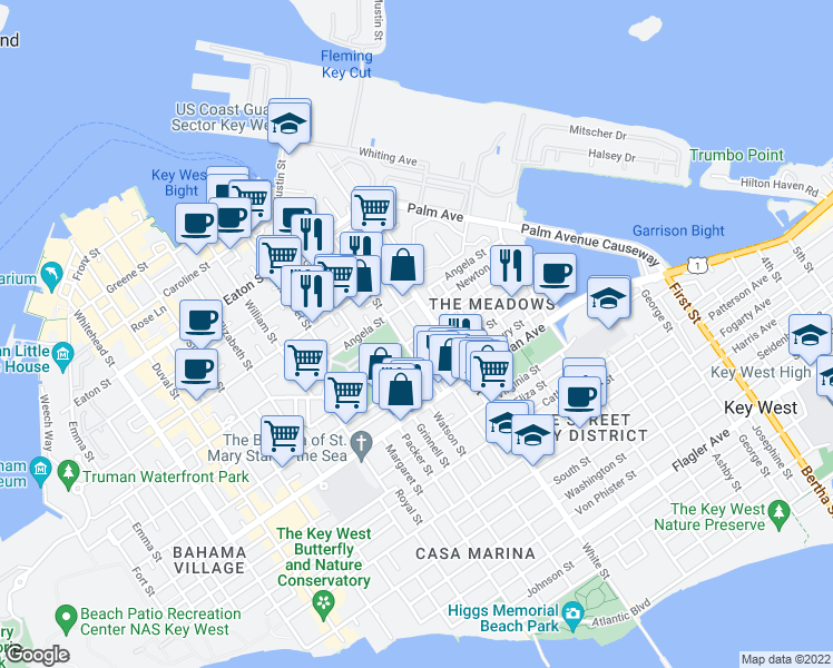 map of restaurants, bars, coffee shops, grocery stores, and more near 728 Ashe Street in Key West