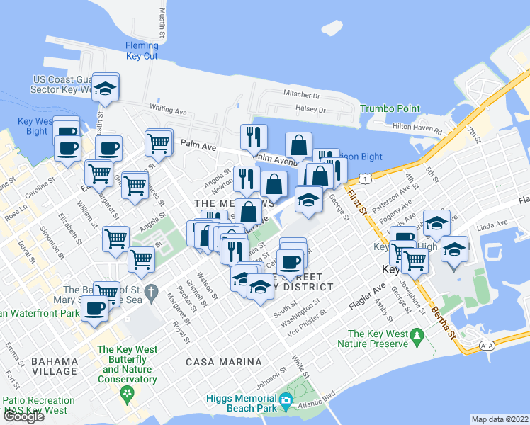map of restaurants, bars, coffee shops, grocery stores, and more near 920 Eisenhower Drive in Key West