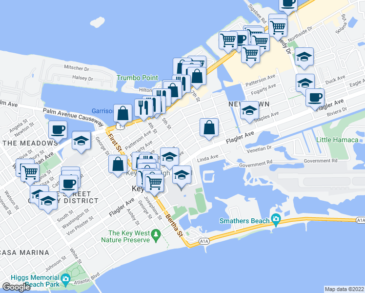 map of restaurants, bars, coffee shops, grocery stores, and more near 5th Street in Key West