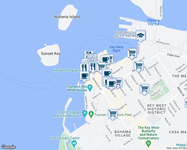 map of restaurants, bars, coffee shops, grocery stores, and more near 112 Fitzpatrick Street in Key West