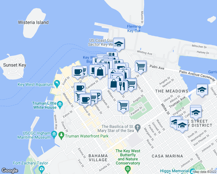 map of restaurants, bars, coffee shops, grocery stores, and more near 806 Eaton Street in Key West
