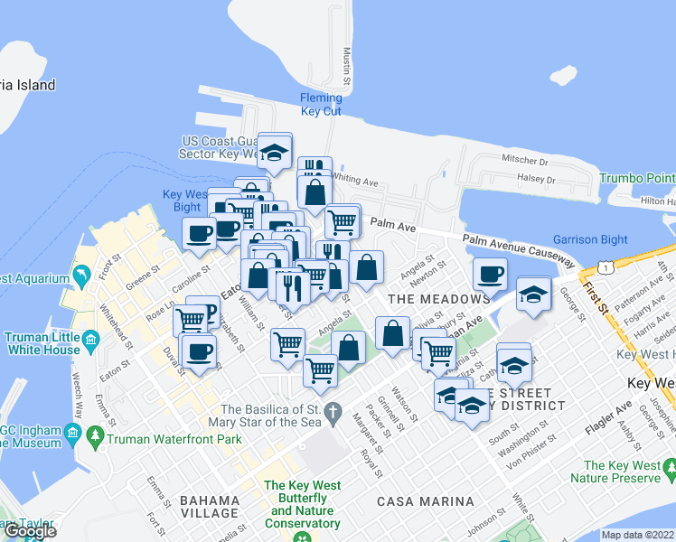 map of restaurants, bars, coffee shops, grocery stores, and more near 1109 Stump Lane in Key West