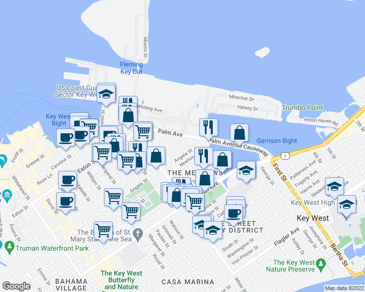 map of restaurants, bars, coffee shops, grocery stores, and more near 132 Peary Court in Key West