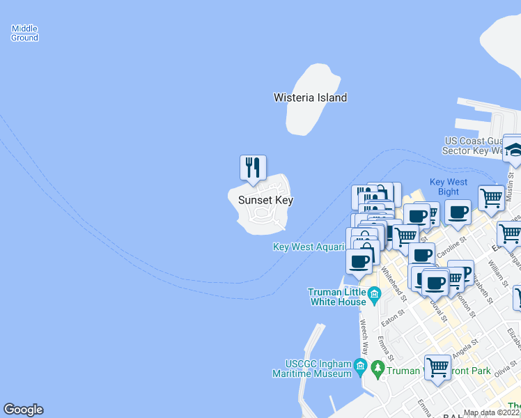 map of restaurants, bars, coffee shops, grocery stores, and more near 61 Sunset Key Drive in Key West