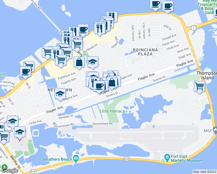 map of restaurants, bars, coffee shops, grocery stores, and more near 3201 Flagler Avenue in Key West