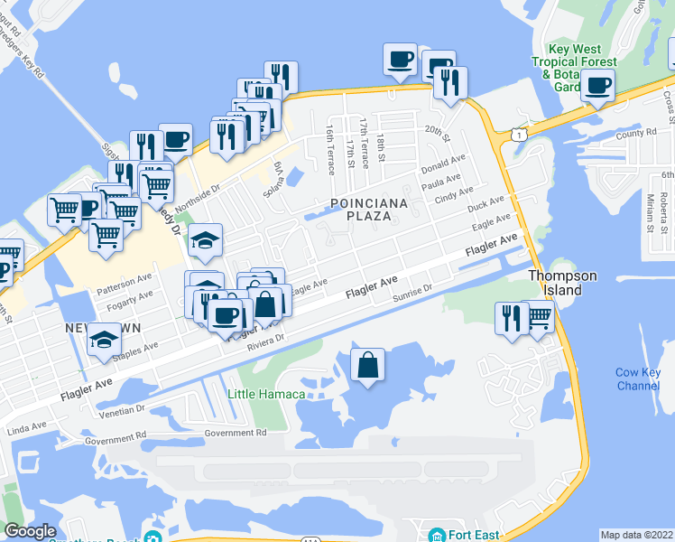 map of restaurants, bars, coffee shops, grocery stores, and more near 3409 Eagle Avenue in Key West