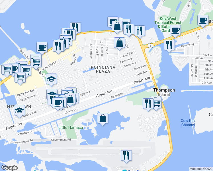 map of restaurants, bars, coffee shops, grocery stores, and more near Eagle Avenue in Key West