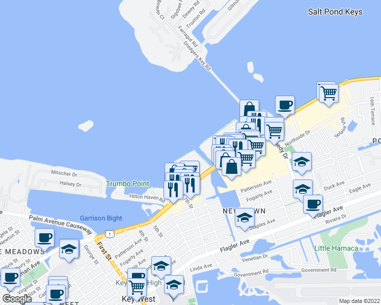 map of restaurants, bars, coffee shops, grocery stores, and more near 2645 Gulfview Drive in Key West