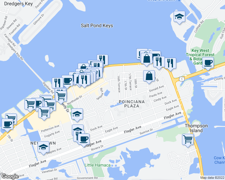 map of restaurants, bars, coffee shops, grocery stores, and more near 1030 Sandys Way in Key West