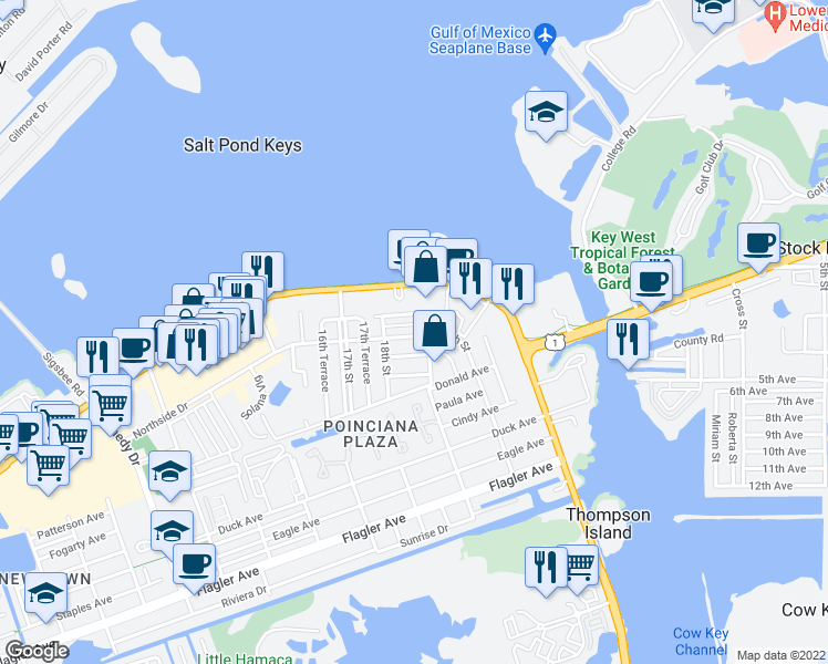 map of restaurants, bars, coffee shops, grocery stores, and more near 3625 Northside Drive in Key West