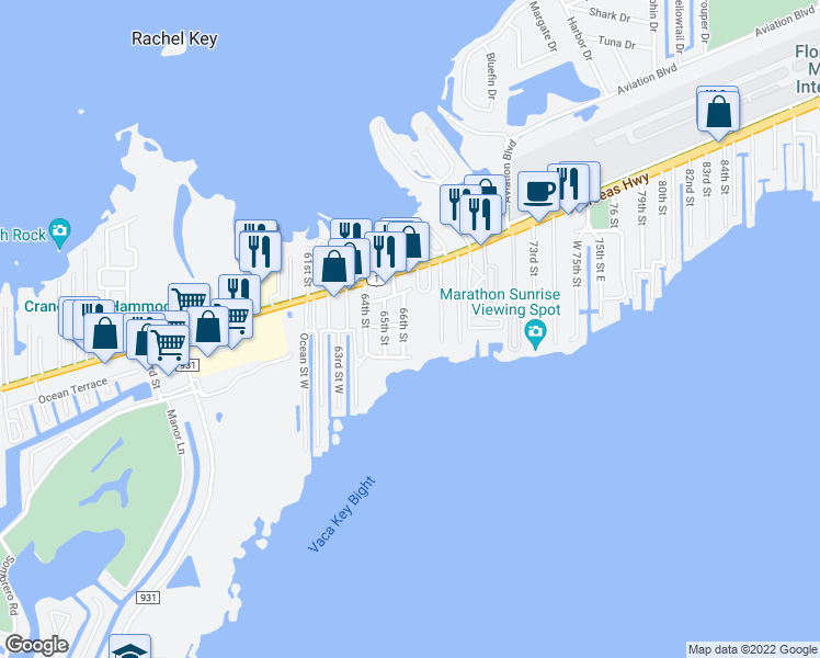 map of restaurants, bars, coffee shops, grocery stores, and more near 320 66th Street Ocean in Marathon